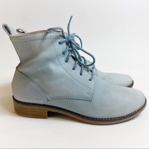 Lucky Brand Baby Blue Leather Combat Boots